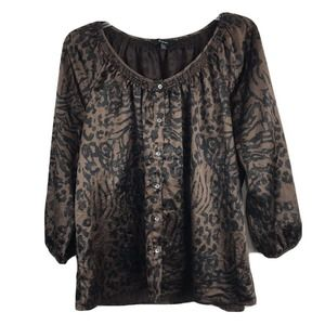 Express Top Tiger Animal Print Leopard Stretch